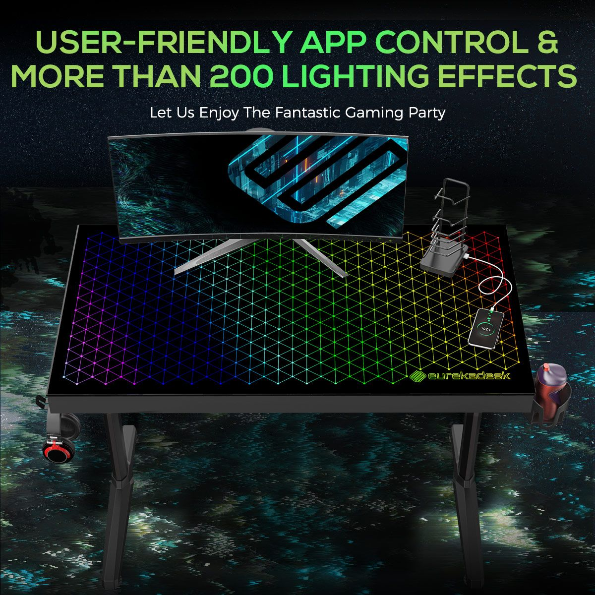 Eureka Ergonomic®  43 inch Tempered Glass Gaming Desk with RGB Lighting, Home Office Computer Desk New Polygon Legs Design, Free Controller Stand Cup Holder & Headphone Hook, Black